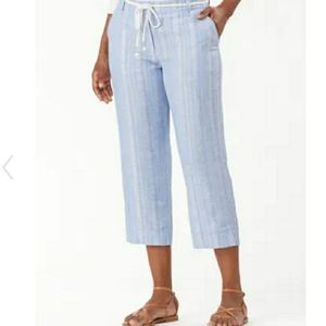 Tommy Bahama Striping Silver Cropped Pants Linen